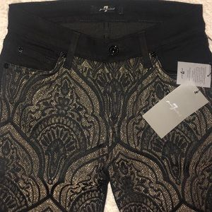 7 For All Mankind Jeans 24 Gold/Black Skinny $218